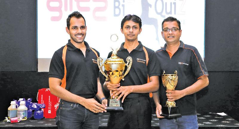 IT/Software category champions and runners-up of the Glitz Biz Quiz 2018. (From left:) 99X Technology Associate Technical Leads Rangitha Kuruppu and Shirantha de Alwis, and Senior Technical Lead Sudath Thenuwara.