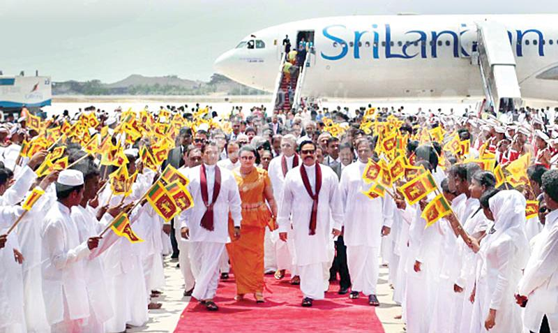 The Rajapaksa family on the tarmac at the opening of Mattala Airport in 2013  (File photo)