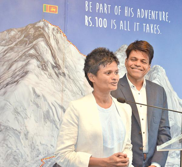 The first Sri Lankan man to conquer Mount Everest Johann Pieris with his partner Jayanthi Kuru-Uthumpala the first Sri Lankan woman to successfully scale the peak. Pic by Sarath Peiris