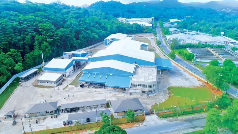 An aerial view of the factory