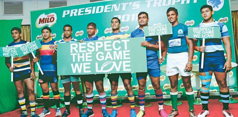 The eight school rugby captains: From left- Javad Zarook (St. Peter's College), Avishka Shiek (Trinity College), Shameesha Vihiranga (St. Joseph's College), Kavinda Amarakoon (St. Anthony's College), Dinesh Dawlagoda (Maliyadeva College), Tharindu Walgampola (Kingswood College), Manelka Ruberu (Isipathana College) and Dayan Sabar (Wesley College) plead for sanity under a persuasive banner (Picture by Samantha Weerasiri)