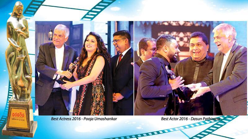 [Left] Best Actress 2016 - Pooja Umashankar [Right] Best Actor 2016 - Dasun Pathirana
