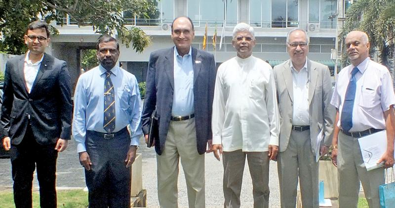 Pathfinders Bernard Goonetilleke, Luxman Siriwardena and Admiral Prof. Jayanath Colambage  with the Delhi Policy Group's Hemanth K. Singh, Biren Nanda and team member.