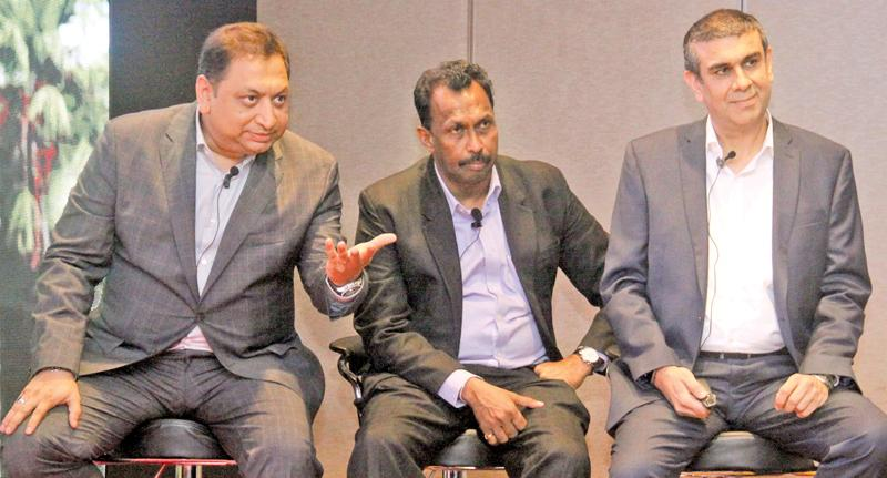 Pankaj Banerjee, Upul Wijesinghe and Nikhil Advani at the media briefing. Pic: Chaminda Niroshana
