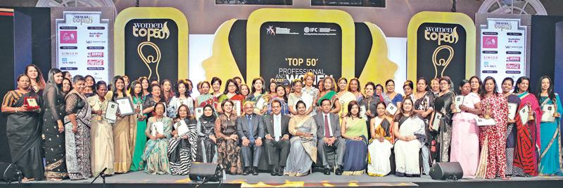 Winners of the Women Top 50 professional and career awards with the panel of judges.