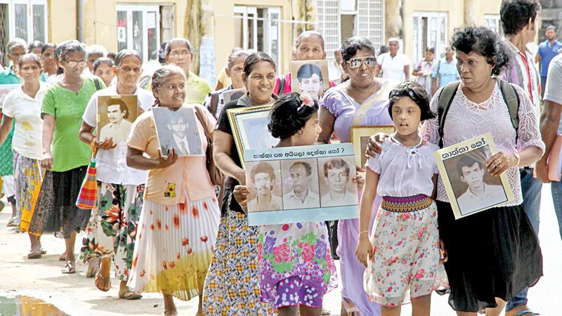 Family members of the disappeared in a protest march - File picture