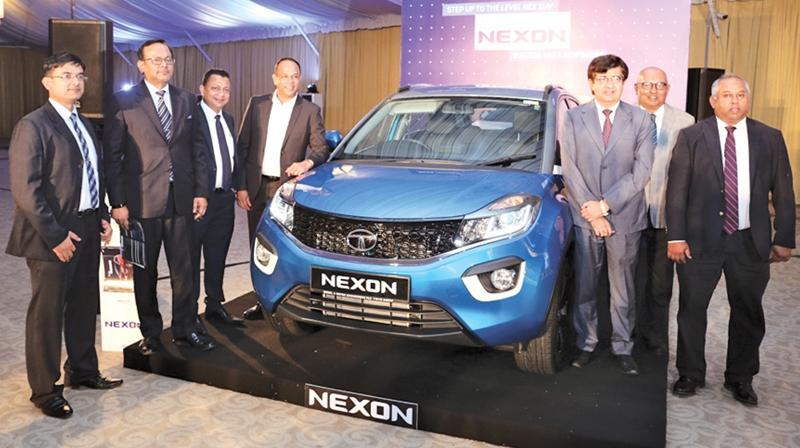 The DIMO management team and Tata Motors officials introduce the Tata NEXON Compact SUV in Sri Lanka. Pic: Chaminda Niroshana
