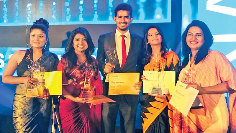 From left: Tharika Dilshani, Prajani Pieris, Malen Cabandugama, Dilini Saminda and Hiranthi Kasundari celebrating theirs wins for Seylan Bank at the SLIM NASCO Awards 2018