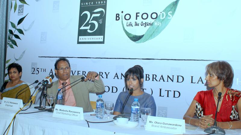 The head table at the media briefing. Chairman, Bio Foods (Pvt) Ltd., Dr. Sarath Ranaweera (second from left) makes a point. Pic: Chaminda Niroshana