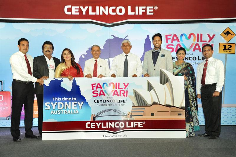 Ceylinco Life Managing Director R. Renganathan and Deputy CEO Thushara Ranasinghe (fourth and fifth from right) with the Family Savari Brand Ambassadors and the Company's Senior DGM Marketing Samitha Hemachandra (extreme left) and Brand Manager Chamath Alwis  (extreme right) at the launch of Family Savari 12.