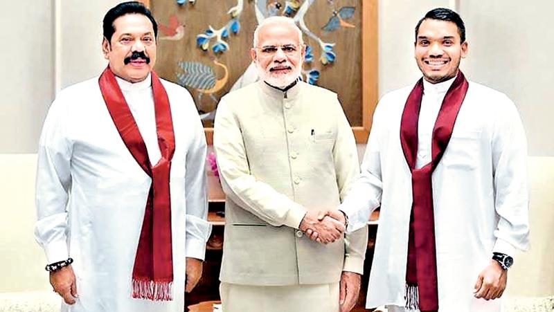 When he met with Indian Prime Minister Narendra Modi, Mahinda Rajapaksa chose to be accompanied only by his son. This was despite the fact that the Rajapaksa delegation to India included senior members of his political faction, including Rhodes Scholar Prof. G.L. Pieris. Pieris, who appeared to be playing the role of shadow Foreign Minister at all the former President's other meetings, was left out of the most crucial meeting of them all