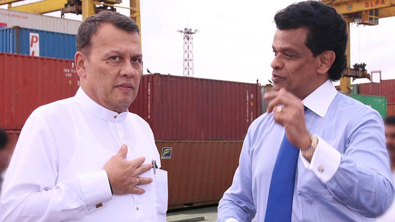 Minister of Ports and Shipping Mahinda Samarasinghe and the Chairman of Sri Lanka Ports Authority (SLPA) Dr.Parakrama Dissanayake on a visit to the Jaya Container Terminal.