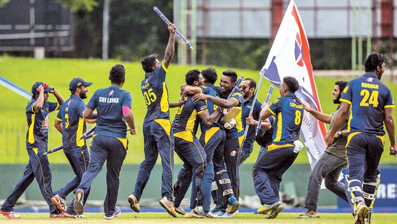 Sri Lankan players celebrate victory