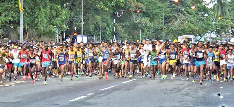 File photo of athletes at the start of the race last year