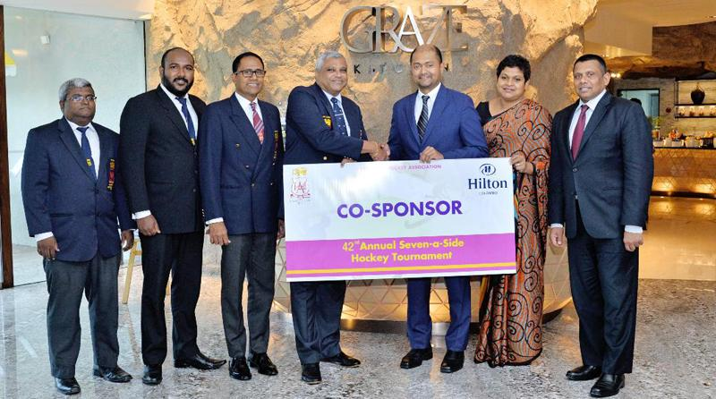Co-sponsor Hilton Colombo handing over the sponsorship to MHA officials. From left: Deva Ellepola (Vice Patron MHA), Manesh Fernando (General Manager Hilton Colombo) and Gigi de Silva (Marketing and Communication Manager Hilton Colombo)