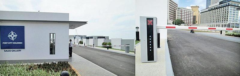 The newly installed automated gate barriers at the Colombo Port City