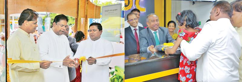 (On left:) Minister of Lands and Parliamentary Reforms and Chief Government Whip Gayantha Karunathilaka, Minister of Home Affairs Vajira Abeywardena and Galle district MP Wijepala Hettiarachchi open the Unawatuna Branch. (On right:) BOC Chairman, Ronald C. Perera presents a gift to the first depositor.  CEO/General Manager  Senarath Bandara and the branch manager Mrs. Herath look on.