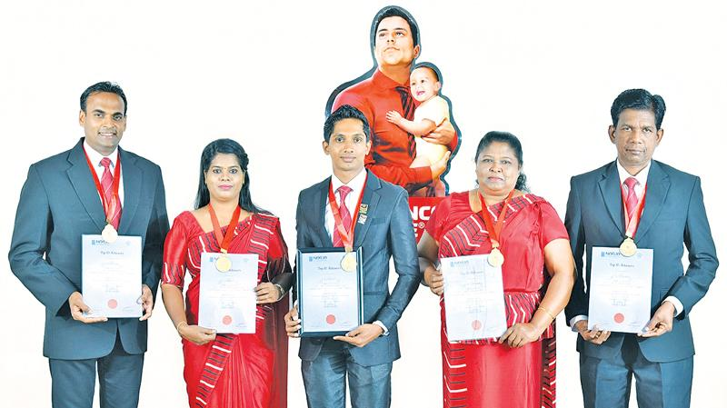 Ceylinco Life's five winners in the top 10 (From left:) K. A. D. N. R. Pushpa, N. L. Fernando, S. K. A. S. Perera (overall winner), H. A. D. S. Nilanthi and S. A. S. Chandralal.