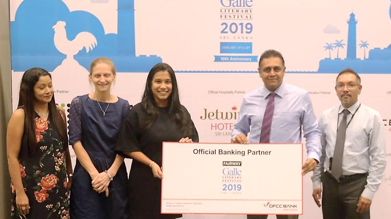 From left: Ms. Nilmini Gunaratne -Vice President Marketing, DFCC Bank, Ms. Jill Macdonald, Curator - Fairway Galle Literary Festival 2019, Ms. Sunela Samaranayake, Festival Director - Fairway Galle Literary Festival 2019,  Thimal Perera - DCEO,DFCC Bank, Sapumal Perera – Cards Marketing Manager, DFCC Bank.