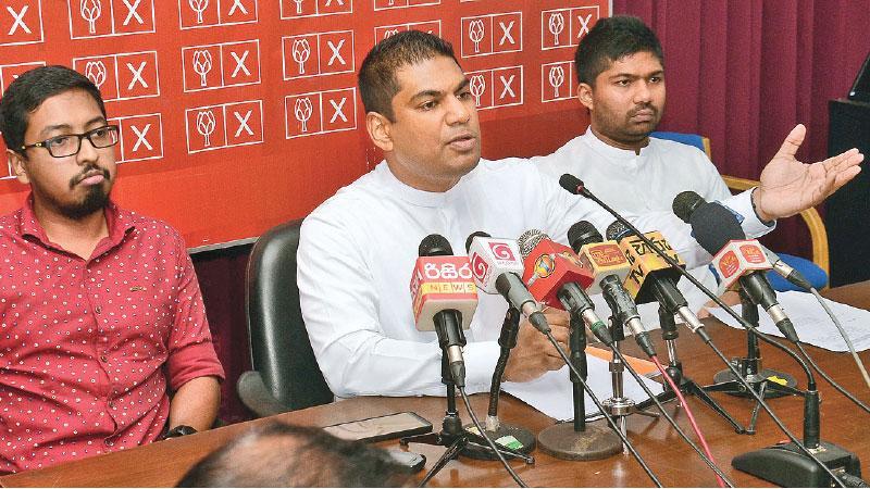 MP Kanchana Wijesekara addresses the media Pic: Wimal Karunathilaka
