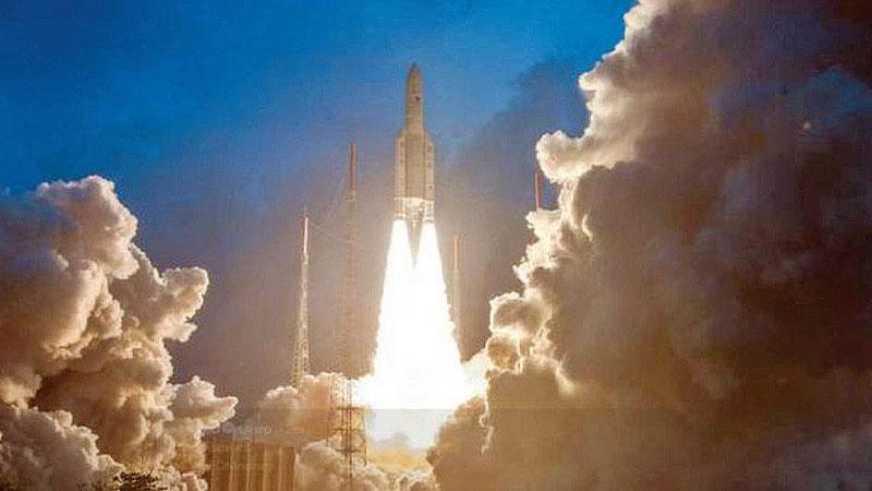 Ariane5 VA-246 lifted off from Kourou Launch Base at 02:07 am (IST) carrying GSAT-11.  Pic: Twitter/@isro