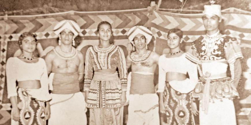 Manel Boteju (third from left) with a few members of the State Dance troupe in the early '70s