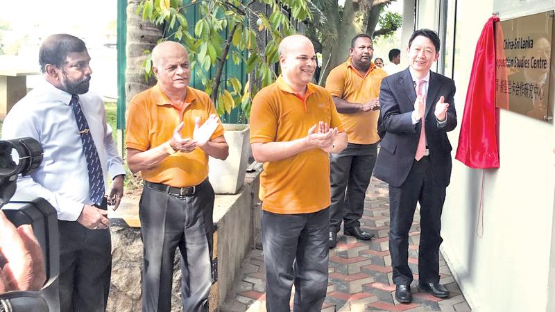 China's State Council's Development Research Centre's (DRC) Vice President, Dr. Long Guoqiang opens the China-Sri Lanka Cooperation Studies Centre of the Pathfinder Foundation.