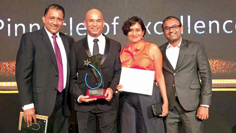 Eco Team members with the award. From left: Head of Sales, Channa Jayasundara, CEO and Founder Eco Team, Anuruddha Bandara,  Head of Marketing and Quality Assurance, Savanthi Jayawickrema and Head of Finance, Kapila Jayasinghe.