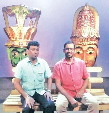 On the studio set of Rupavahini Corporation, the dedicated duo spearheading Ranga Bhoomi, the show's Producer Mao Lakshitha (left) and Host Jayanath Bandara.