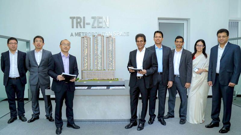 From left:  Project Director of CSCEC, Wu Jie, Deputy General Manager of CSCEC, Jia Ruihua, General Manager of CSCEC, Zhang Xiaofu, Chairman of Indra Traders, Indra Silva, Managing Director of Indra Traders, Rushanka Silva, Sector Head of the Property Group, John Keells Holdings,  Nayana Mawilmada, Chief Marketing Officer of the Property Group, John Keells Holdings Roshanie Jayasundera-Moraes and Director of Braybrooke Residential Towers,   Channa Palansuriya