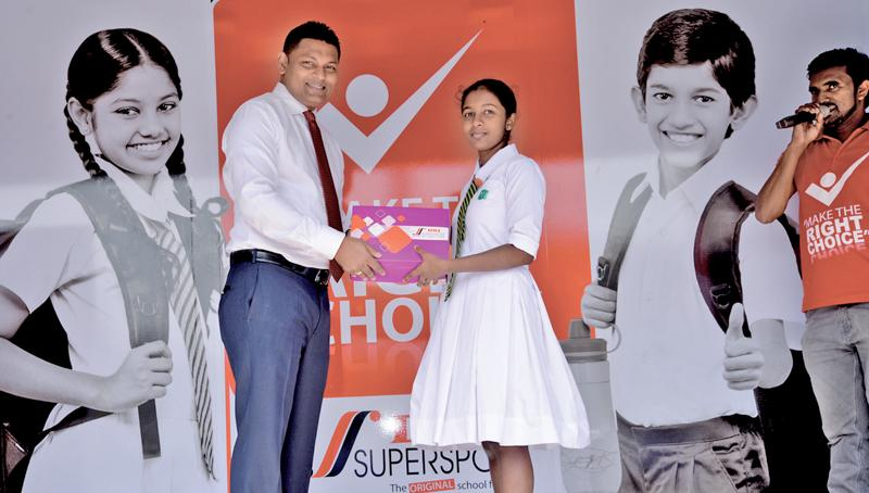 A student receives a gift