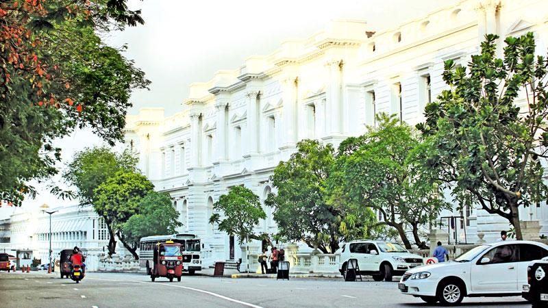 The massive white imposing building of the GPO during colonial times