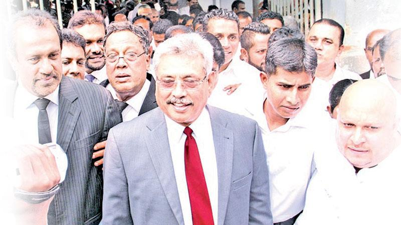 Former defence secretary Gotabhaya Rajapaksa seen outside Colombo Permanent High Court at Bar.