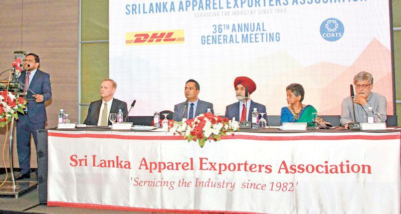The headtable at the AGM of the Sri Lanka Apparel Exporters Assocition. Pic: Chaminda Niroshana