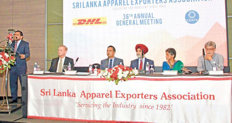 The headtable at the AGM of the Sri Lanka Apparel Exporters Assocition. Pic: Chaminda Niroshana