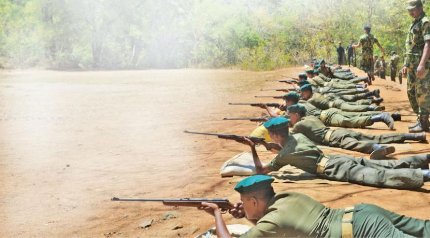 An  exercise in shooting at a training camp