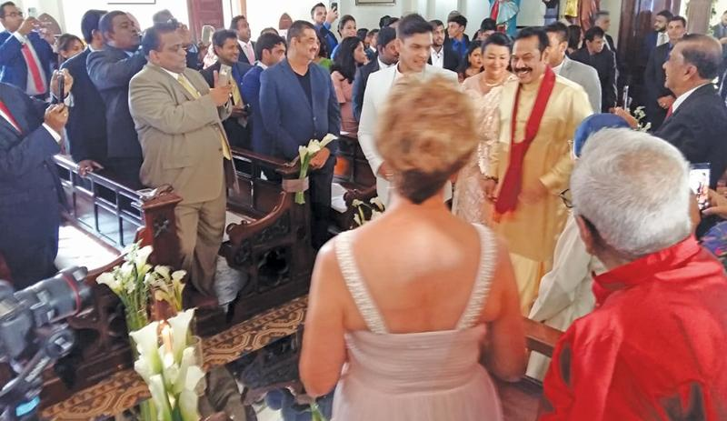The former President's youngest son Rohitha Rajapaksa's wedding at St Mary's Church, Bambalapitiya