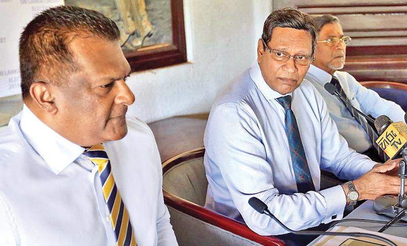 Sumathipala camp heavyweights Shammi Silva (left) and Mohan de Silva throw down the gauntlet as election fever hots up