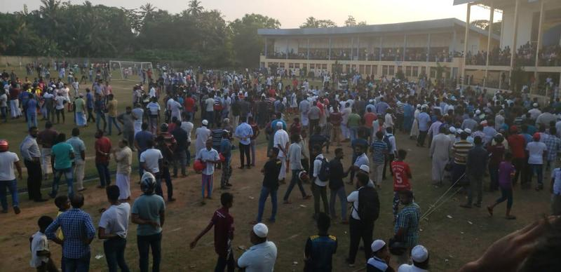 A crowd invasion at a Premier League match between Red Star and Blue Star in Kalutara