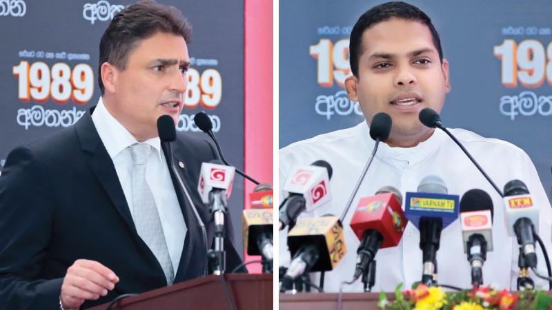 Ambassador Hanspeter Mock and Minister Harin Fernando  Pix: Chaminda Niroshana