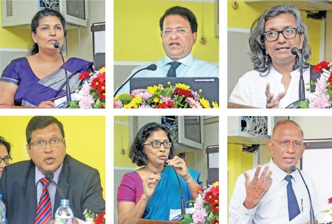 Some of the speakers at the annual sessions  of the Sri Lanka Ecomomic Association. Pix: Chaminda Niroshana