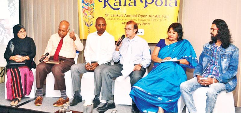 From left: Zamshaya Kaleel (artist), Arun Dias Bandaranaike, Dileep Muddadeniya, Michael Anthonisz, Nadija Tambiah and Sudath Abeysekera (artist)