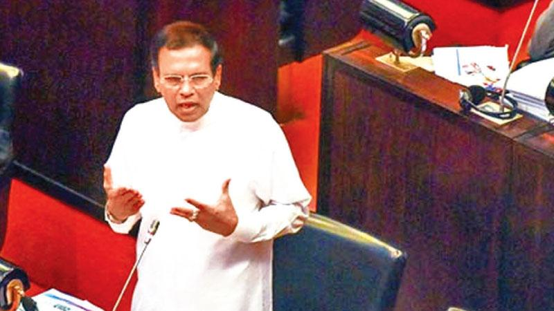 President Maithripala Sirisena addresses Parliament on Wednesday.