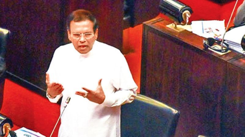 President Maithripala Sirisena addresses Parliament on Wednesday.