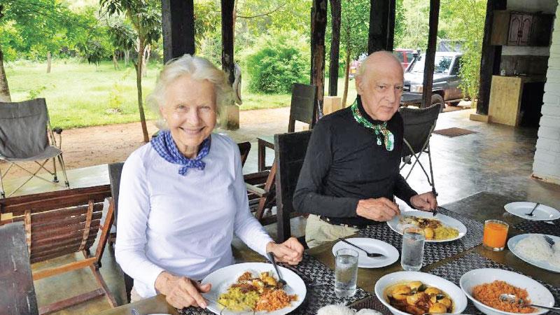 Lady Valda Ondaatje and Sir Christopher Ondaatje...Breakfast Outside Wilpattu National Park