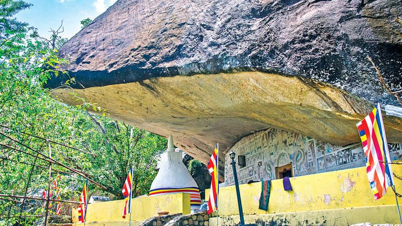 ARRESTING SIGHT: The exterior view of the Rakkiththakanda cave temple