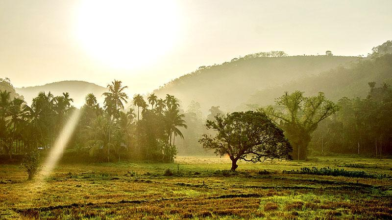Rural rustic setting of Divalakada at dawn when the first rays of the sun touch the village
