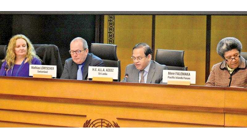 Sri Lanka's Permanent Representative in Geneva, Ambassador A.L.A. Azeez speaks at the 2019 World Wildlife Day celebrations in Geneva.