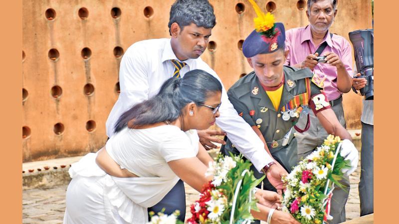 Geethani Kasthuriarachchi at the memorial (Pix Samantha Weerasiri and Gayan Pushpika)