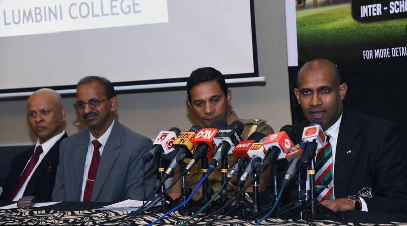 From left: Niranjan Abeywardena former Lumbini, Police and Sri Lanka rugby flanker and Kelum Sujith, Chairman, UAE speaking at a Press conference held at SSC Conference Hall